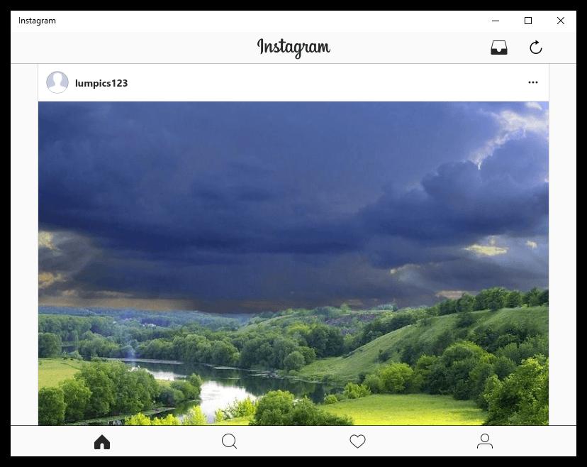 Работа приложения Instagram на компьютере